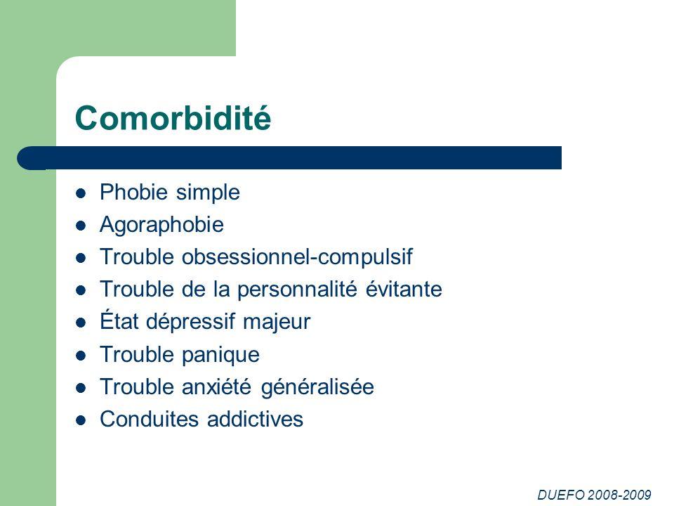 DUEFO 2008-2009 Comorbidité Phobie simple Agoraphobie Trouble obsessionnel-compulsif Trouble de la personnalité évitante État dépressif majeur Trouble