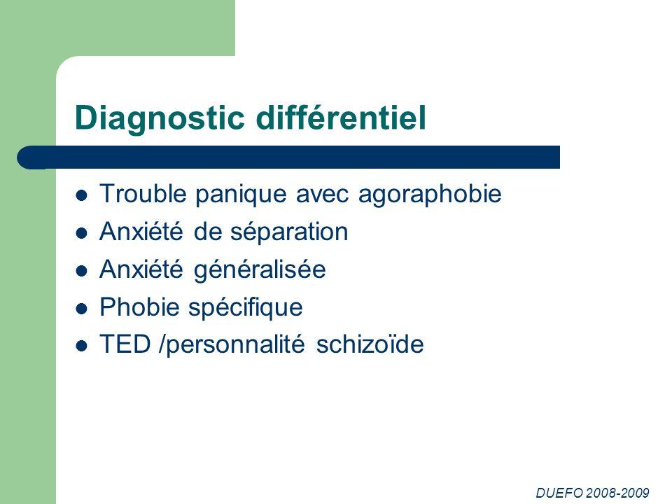 DUEFO 2008-2009 Diagnostic différentiel Trouble panique avec agoraphobie Anxiété de séparation Anxiété généralisée Phobie spécifique TED /personnalité