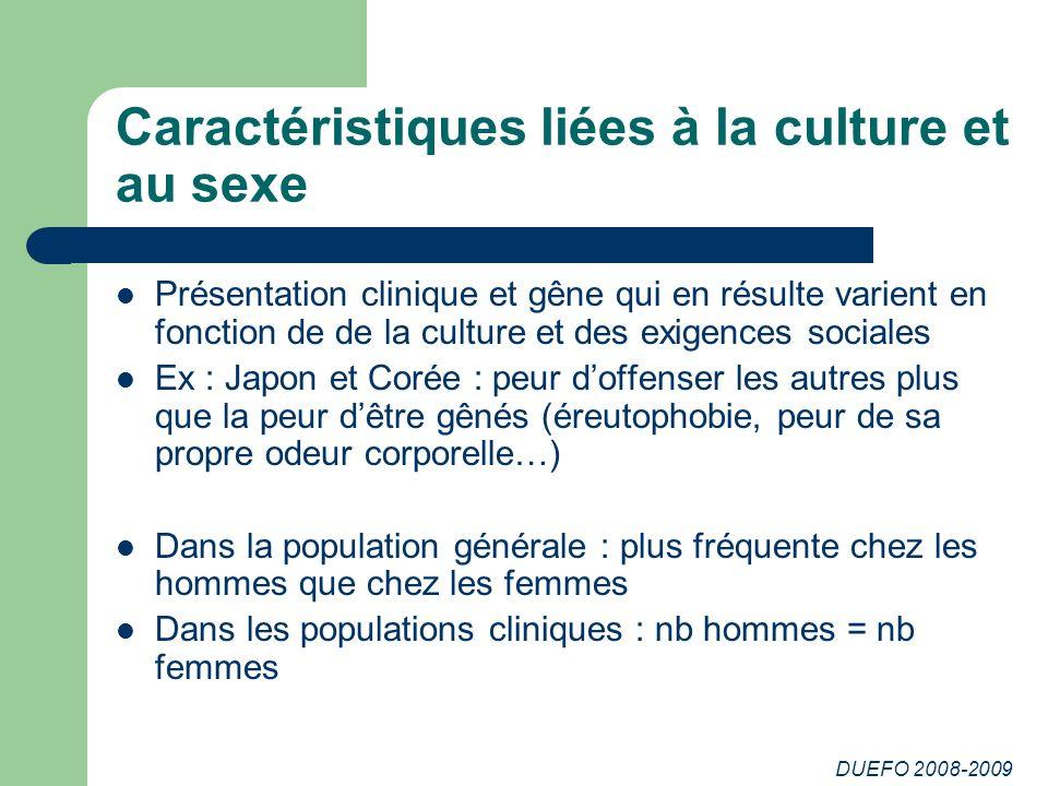 DUEFO 2008-2009 Caractéristiques liées à la culture et au sexe Présentation clinique et gêne qui en résulte varient en fonction de de la culture et de
