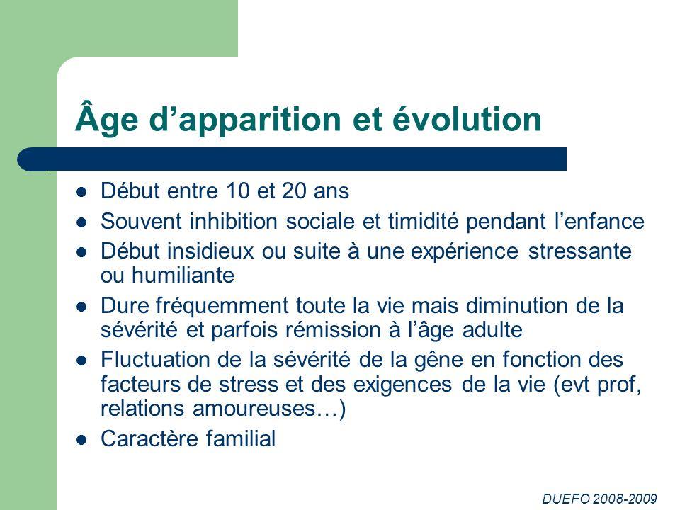 DUEFO 2008-2009 Âge dapparition et évolution Début entre 10 et 20 ans Souvent inhibition sociale et timidité pendant lenfance Début insidieux ou suite