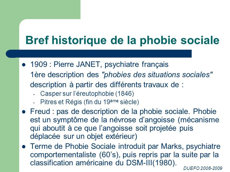 DUEFO 2008-2009 Bref historique de la phobie sociale 1909 : Pierre JANET, psychiatre français 1ère description des