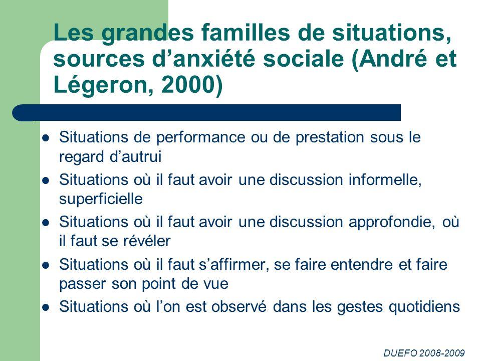 DUEFO 2008-2009 Les grandes familles de situations, sources danxiété sociale (André et Légeron, 2000) Situations de performance ou de prestation sous