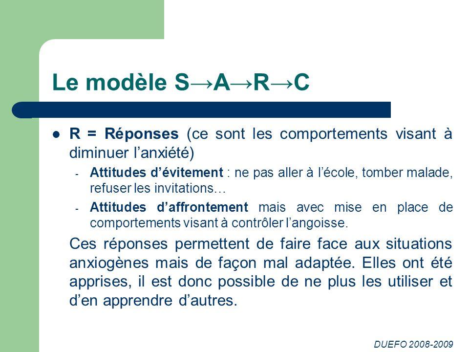 DUEFO 2008-2009 Le modèle SARC R = Réponses (ce sont les comportements visant à diminuer lanxiété) - Attitudes dévitement : ne pas aller à lécole, tom