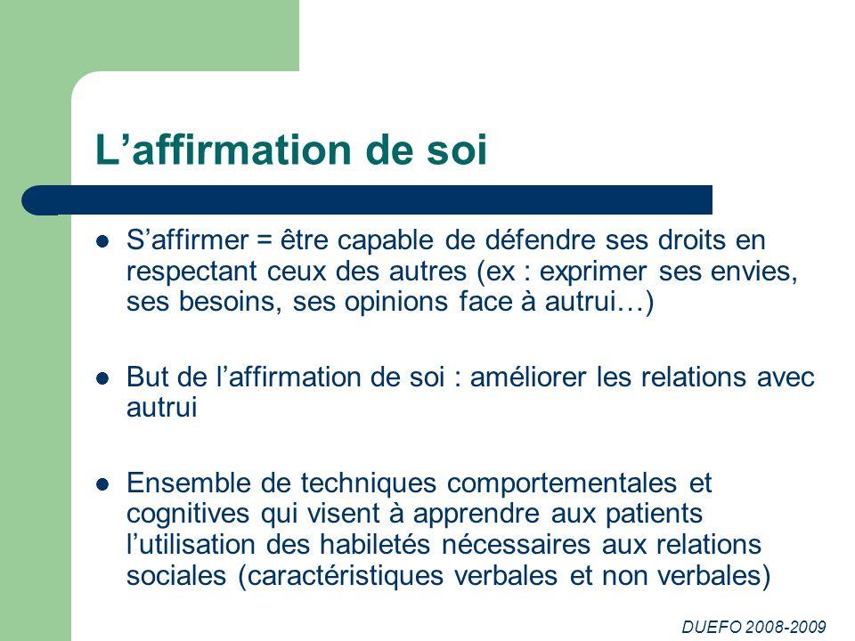 DUEFO 2008-2009 Laffirmation de soi Saffirmer = être capable de défendre ses droits en respectant ceux des autres (ex : exprimer ses envies, ses besoi