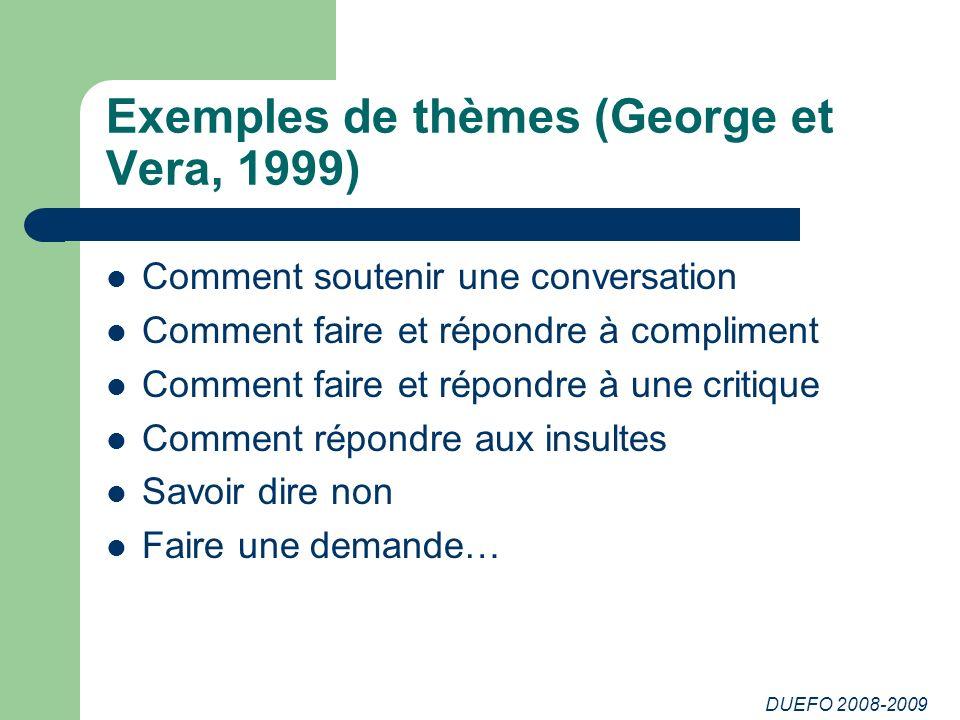 DUEFO 2008-2009 Exemples de thèmes (George et Vera, 1999) Comment soutenir une conversation Comment faire et répondre à compliment Comment faire et ré