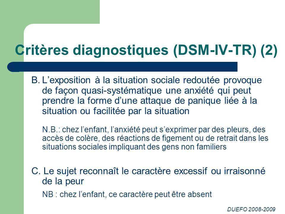 DUEFO 2008-2009 Critères diagnostiques (DSM-IV-TR) (2) B.Lexposition à la situation sociale redoutée provoque de façon quasi-systématique une anxiété