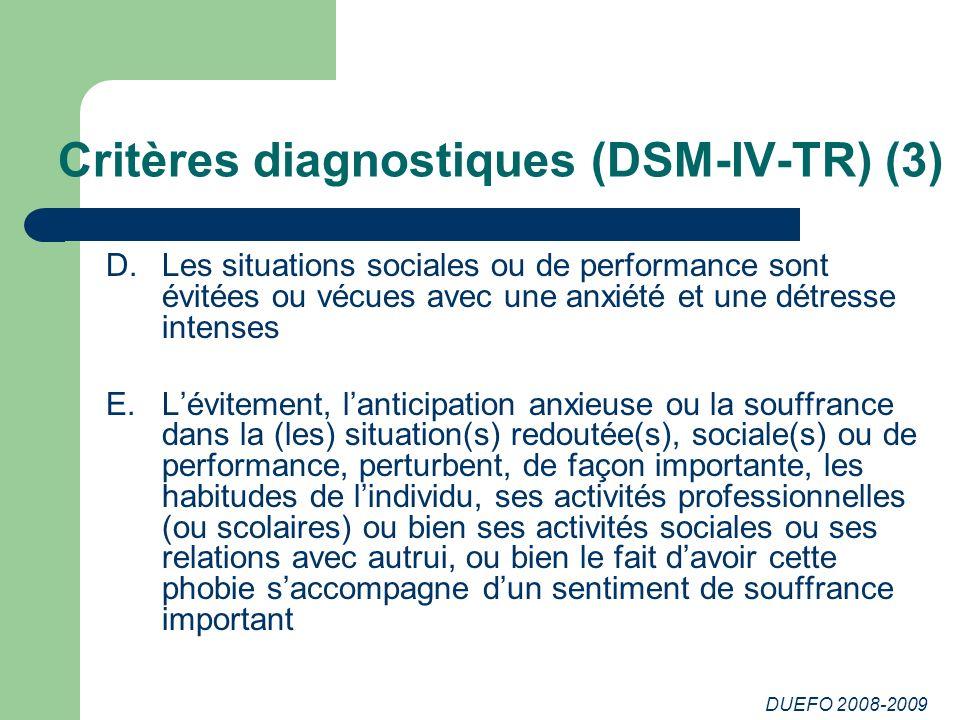 DUEFO 2008-2009 Critères diagnostiques (DSM-IV-TR) (3) D.Les situations sociales ou de performance sont évitées ou vécues avec une anxiété et une détr