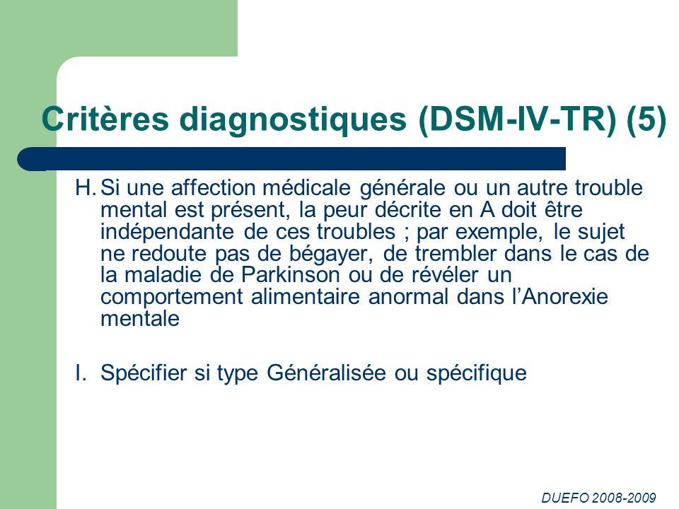 DUEFO 2008-2009 Critères diagnostiques (DSM-IV-TR) (5) H.Si une affection médicale générale ou un autre trouble mental est présent, la peur décrite en