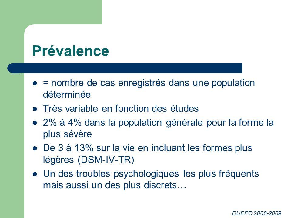 DUEFO 2008-2009 Prévalence = nombre de cas enregistrés dans une population déterminée Très variable en fonction des études 2% à 4% dans la population
