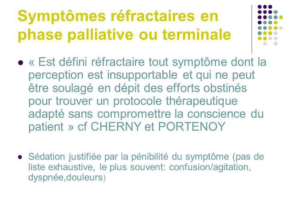 Symptômes réfractaires en phase palliative ou terminale « Est défini réfractaire tout symptôme dont la perception est insupportable et qui ne peut êtr