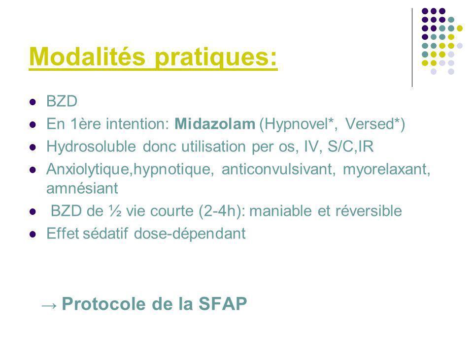 Modalités pratiques: BZD En 1ère intention: Midazolam (Hypnovel*, Versed*) Hydrosoluble donc utilisation per os, IV, S/C,IR Anxiolytique,hypnotique, a