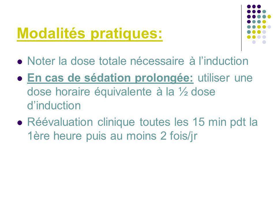 Modalités pratiques: Noter la dose totale nécessaire à linduction En cas de sédation prolongée: utiliser une dose horaire équivalente à la ½ dose dind