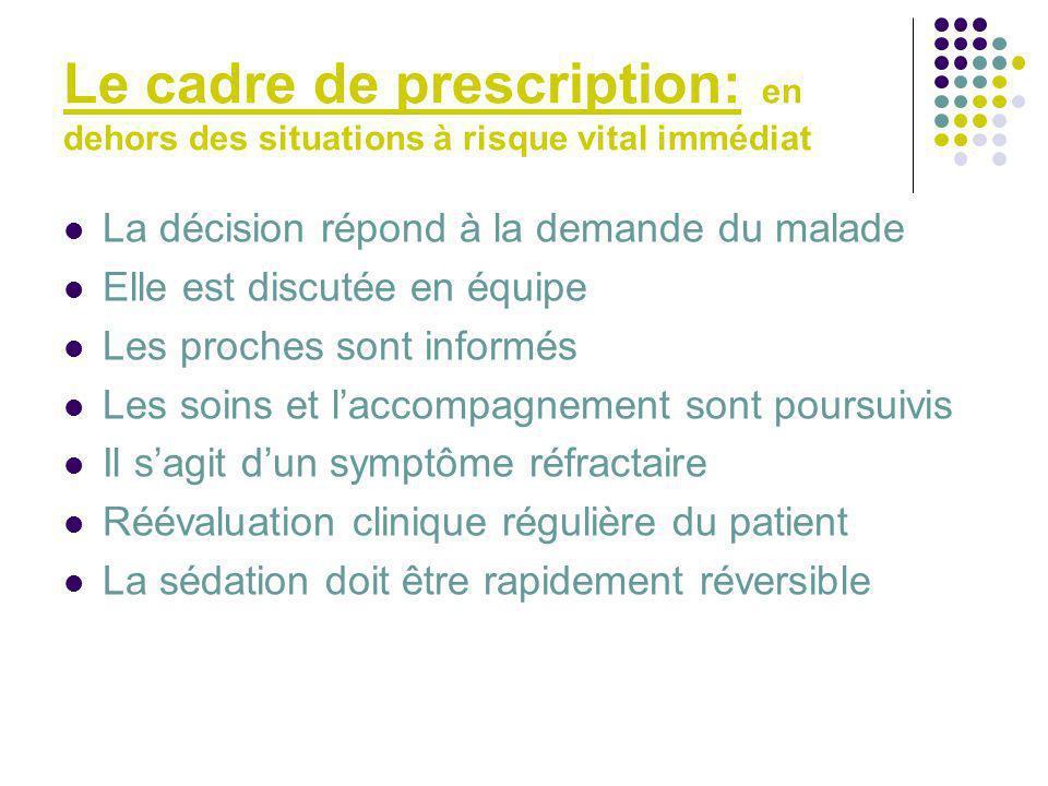 Le cadre de prescription: en dehors des situations à risque vital immédiat La décision répond à la demande du malade Elle est discutée en équipe Les p