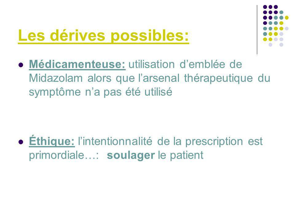 Les dérives possibles: Médicamenteuse: utilisation demblée de Midazolam alors que larsenal thérapeutique du symptôme na pas été utilisé Éthique: linte