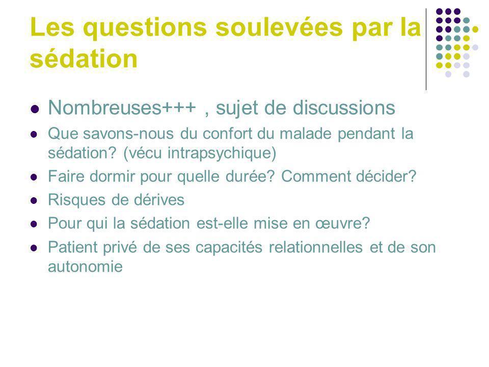 Les questions soulevées par la sédation Nombreuses+++, sujet de discussions Que savons-nous du confort du malade pendant la sédation? (vécu intrapsych