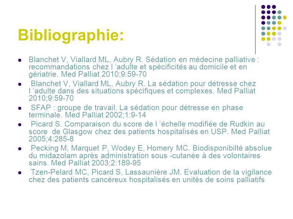 Bibliographie: Blanchet V, Viallard ML, Aubry R. Sédation en médecine palliative : recommandations chez l adulte et spécificités au domicile et en gér