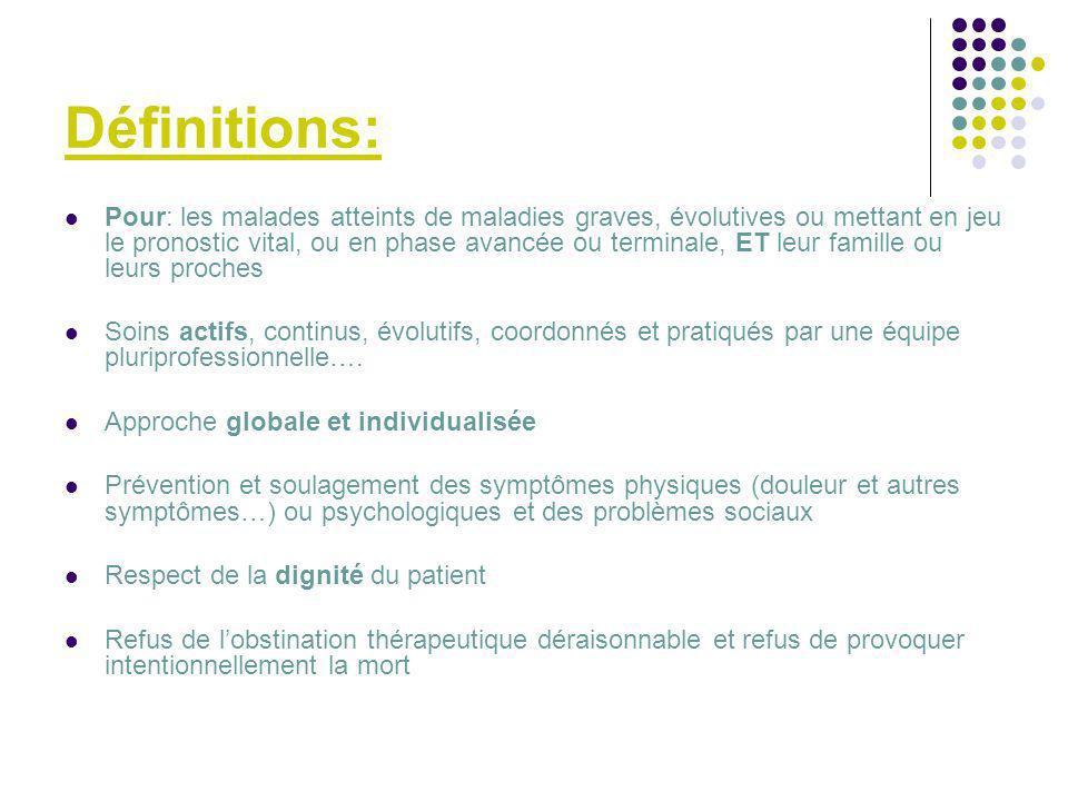 Définitions: Pour: les malades atteints de maladies graves, évolutives ou mettant en jeu le pronostic vital, ou en phase avancée ou terminale, ET leur