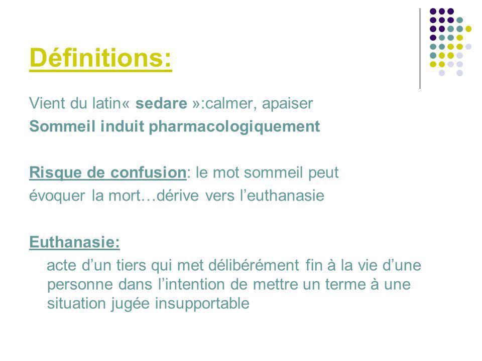 Définitions: Vient du latin« sedare »:calmer, apaiser Sommeil induit pharmacologiquement Risque de confusion: le mot sommeil peut évoquer la mort…déri