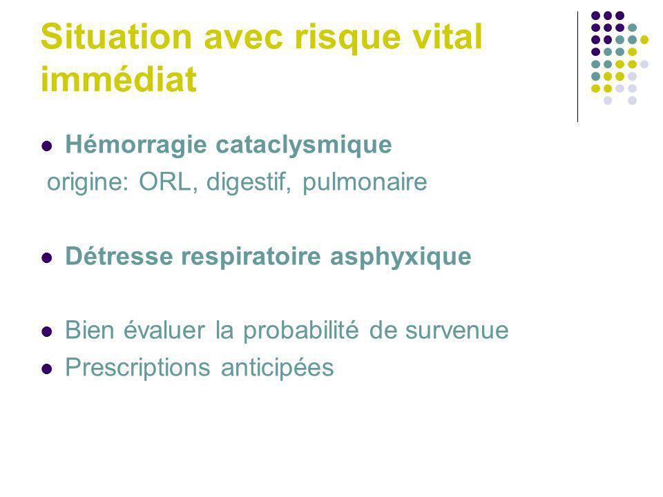 Situation avec risque vital immédiat Hémorragie cataclysmique origine: ORL, digestif, pulmonaire Détresse respiratoire asphyxique Bien évaluer la prob