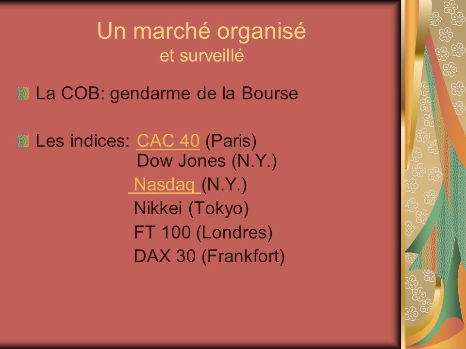 Un marché organisé et surveillé La COB: gendarme de la Bourse Les indices: CAC 40 (Paris) Dow Jones (N.Y.)CAC 40 Nasdaq (N.Y.) Nasdaq Nikkei (Tokyo) FT 100 (Londres) DAX 30 (Frankfort)