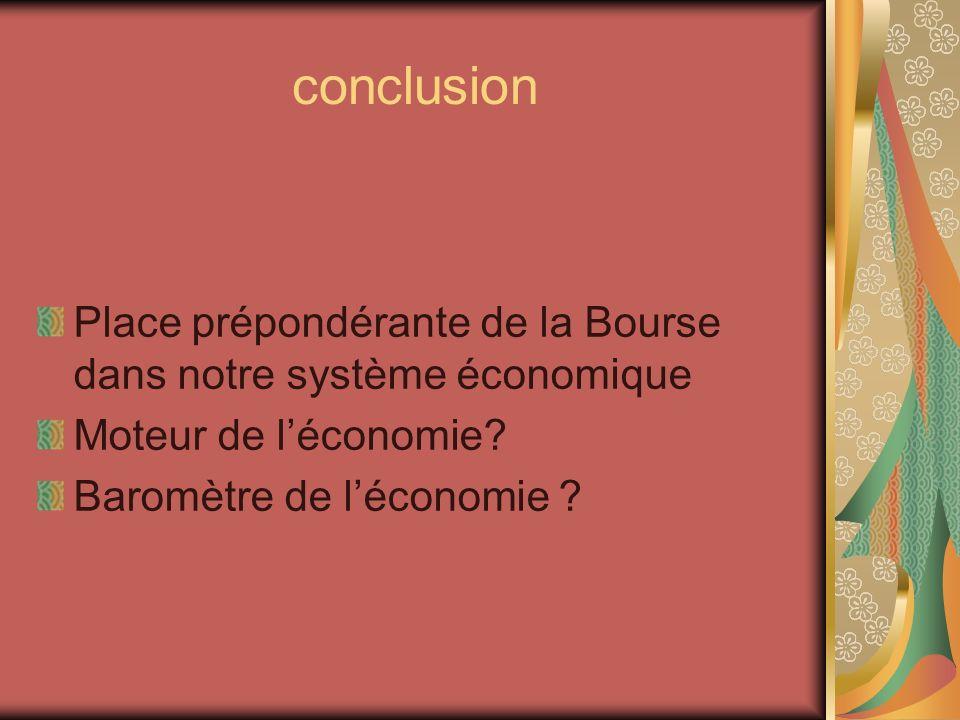 conclusion Place prépondérante de la Bourse dans notre système économique Moteur de léconomie? Baromètre de léconomie ?