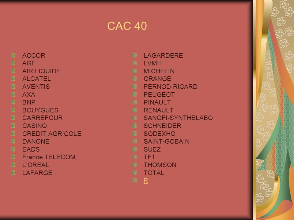 CAC 40 ACCOR AGF AIR LIQUIDE ALCATEL AVENTIS AXA BNP BOUYGUES CARREFOUR CASINO CREDIT AGRICOLE DANONE EADS France TELECOM LOREAL LAFARGE LAGARDERE LVM