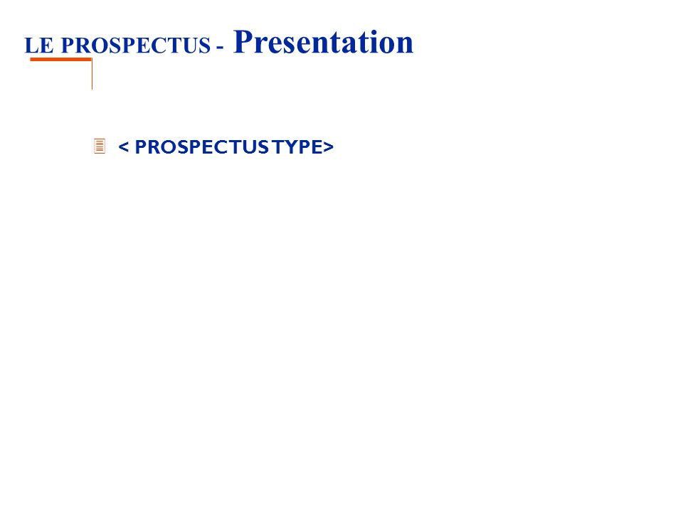 LE PROSPECTUS - Presentation 3