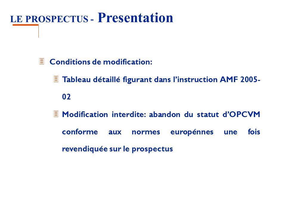 LE PROSPECTUS - Presentation 3 Conditions de modification: 3 Tableau détaillé figurant dans linstruction AMF 2005- 02 3 Modification interdite: abandon du statut dOPCVM conforme aux normes europénnes une fois revendiquée sur le prospectus