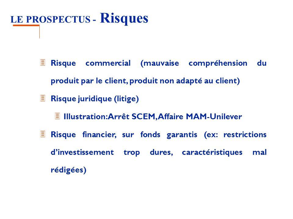LE PROSPECTUS - Risques 3 Risque commercial (mauvaise compréhension du produit par le client, produit non adapté au client) 3 Risque juridique (litige