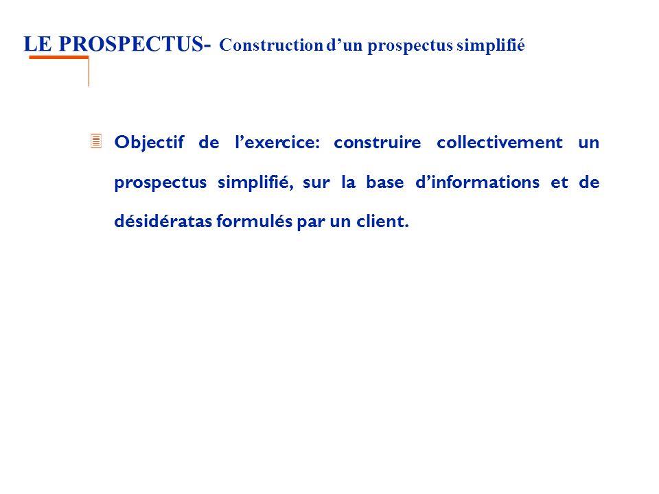 LE PROSPECTUS- Construction dun prospectus simplifié 3 Objectif de lexercice: construire collectivement un prospectus simplifié, sur la base dinformations et de désidératas formulés par un client.