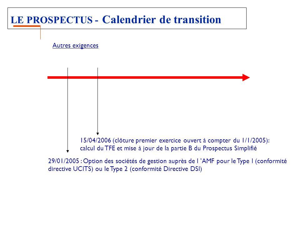 LE PROSPECTUS - Calendrier de transition 29/01/2005 : Option des sociétés de gestion auprès de l AMF pour le Type I (conformité directive UCITS) ou le Type 2 (conformité Directive DSI) 15/04/2006 (clôture premier exercice ouvert à compter du 1/1/2005): calcul du TFE et mise à jour de la partie B du Prospectus Simplifié Autres exigences