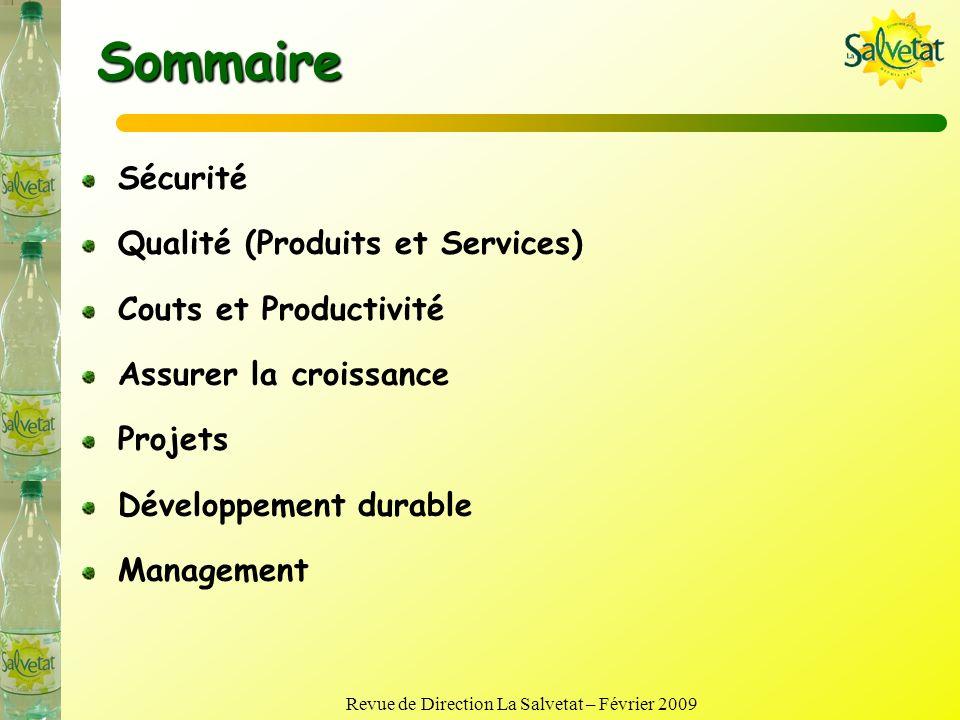 Revue de Direction La Salvetat – Février 2009 Revue des processus Main dœuvre et formation Sécurité