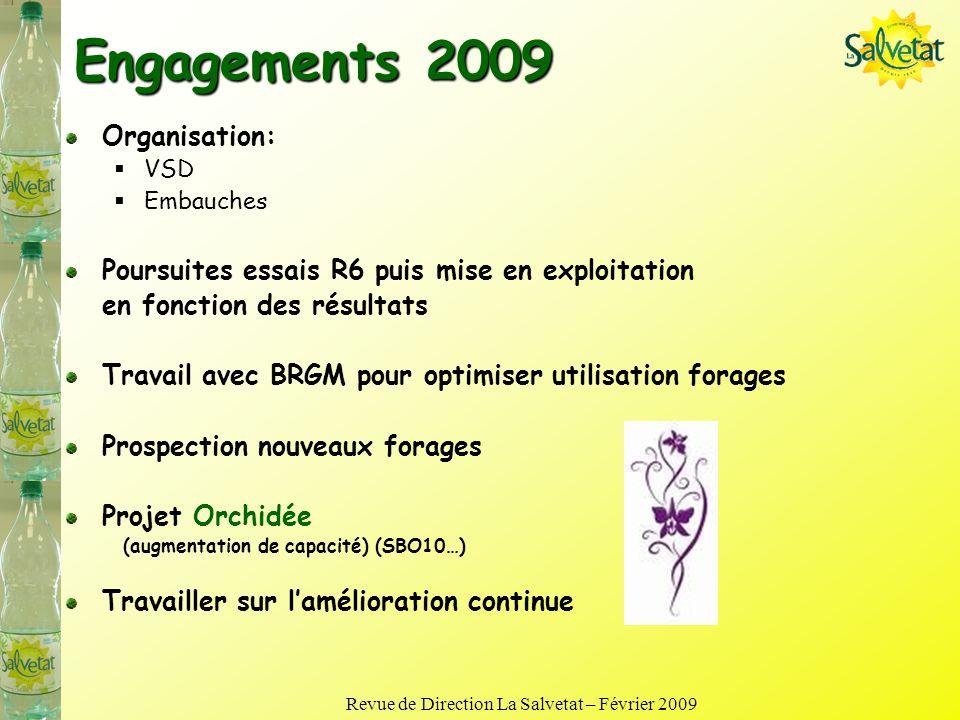 Revue de Direction La Salvetat – Février 2009 Bilan 2008 Organisation 3X8 une semaine sur 3 embauches, EPS de nuit Maintien de loutil Ressource en Eau