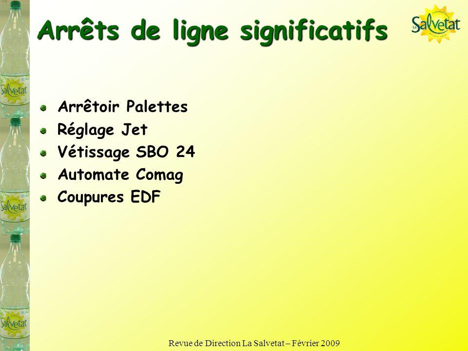 Revue de Direction La Salvetat – Février 2009 Faits marquants Allégement préformes 42 => 39 g Plus de mutation SBO, un réglage définitif des machines