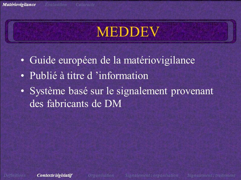 MEDDEV Guide européen de la matériovigilance Publié à titre d information Système basé sur le signalement provenant des fabricants de DM DéfinitionsCo