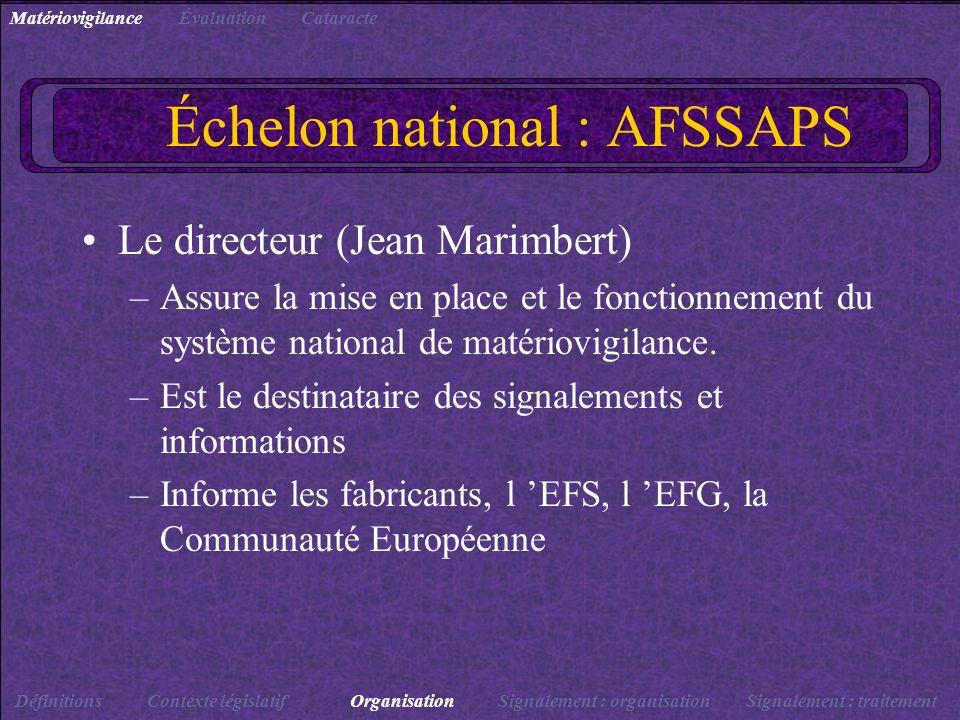 Échelon national : AFSSAPS Le directeur (Jean Marimbert) –Assure la mise en place et le fonctionnement du système national de matériovigilance. –Est l