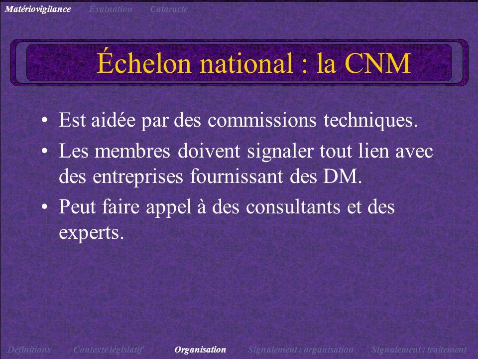 Échelon national : la CNM Est aidée par des commissions techniques. Les membres doivent signaler tout lien avec des entreprises fournissant des DM. Pe
