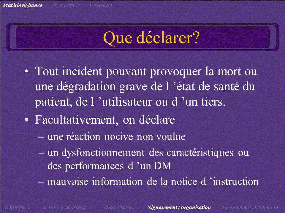 Que déclarer? Tout incident pouvant provoquer la mort ou une dégradation grave de l état de santé du patient, de l utilisateur ou d un tiers. Facultat