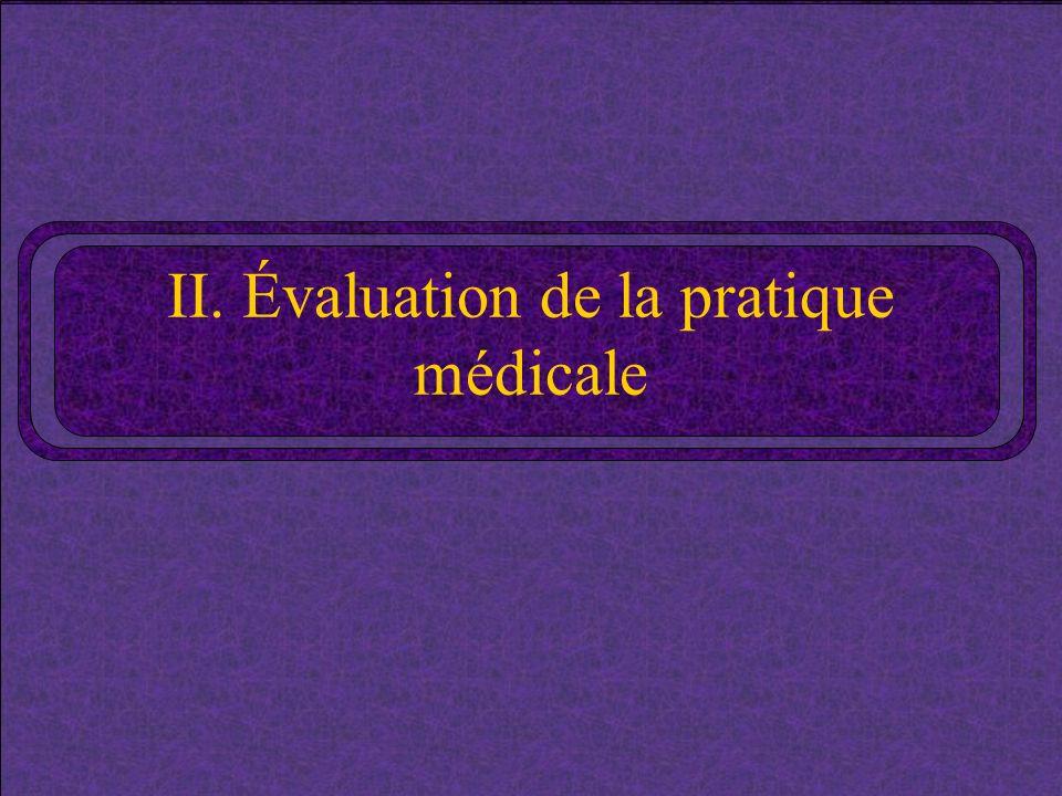 II. Évaluation de la pratique médicale