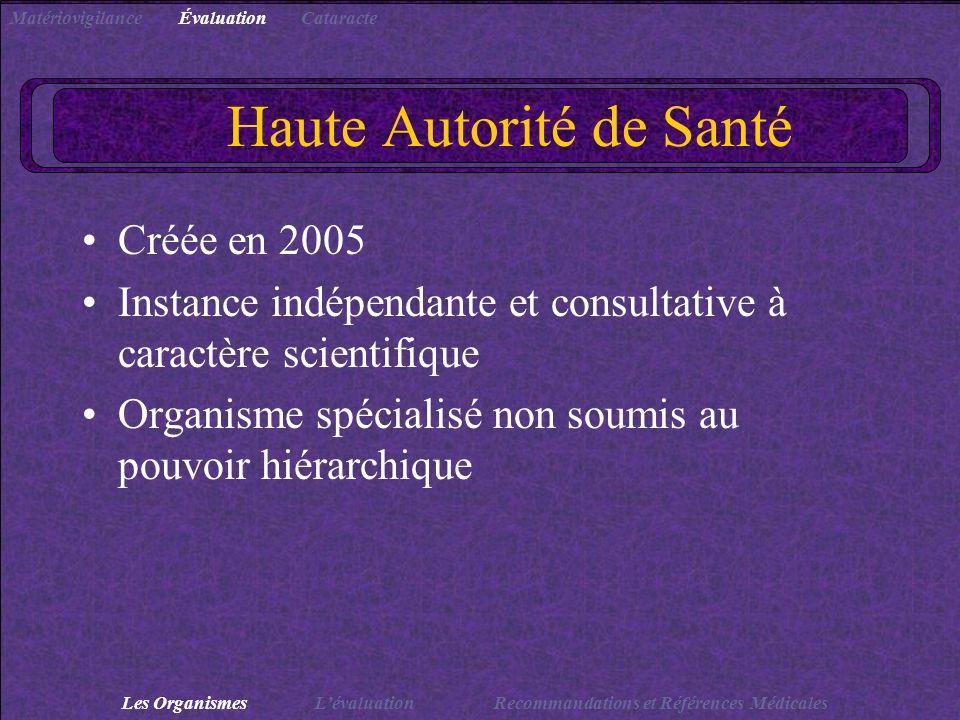 Haute Autorité de Santé Créée en 2005 Instance indépendante et consultative à caractère scientifique Organisme spécialisé non soumis au pouvoir hiérar