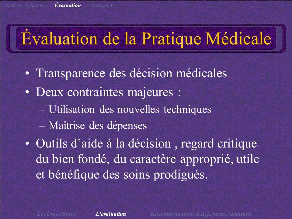 Évaluation de la Pratique Médicale Transparence des décision médicales Deux contraintes majeures : –Utilisation des nouvelles techniques –Maîtrise des