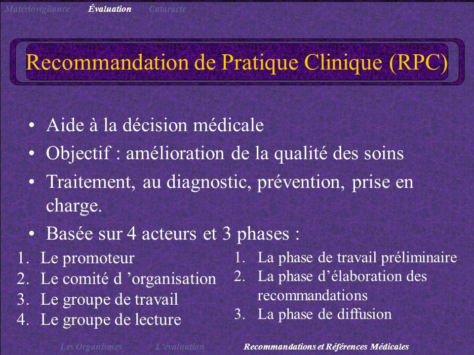 Recommandation de Pratique Clinique (RPC) Aide à la décision médicale Objectif : amélioration de la qualité des soins Traitement, au diagnostic, préve