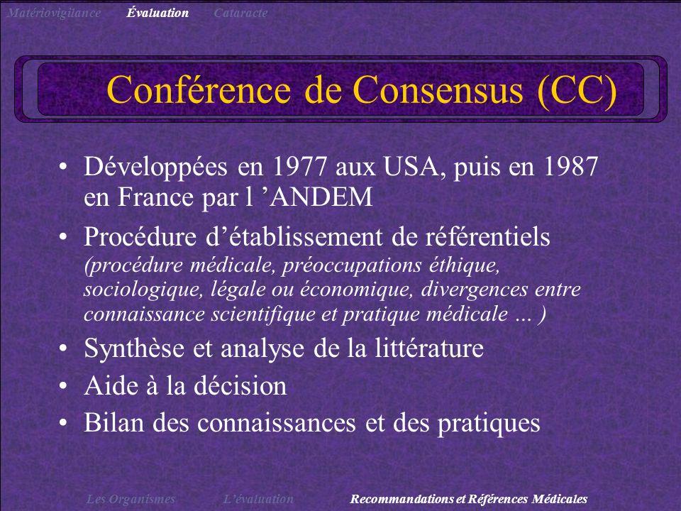 Conférence de Consensus (CC) Développées en 1977 aux USA, puis en 1987 en France par l ANDEM Procédure détablissement de référentiels (procédure médic