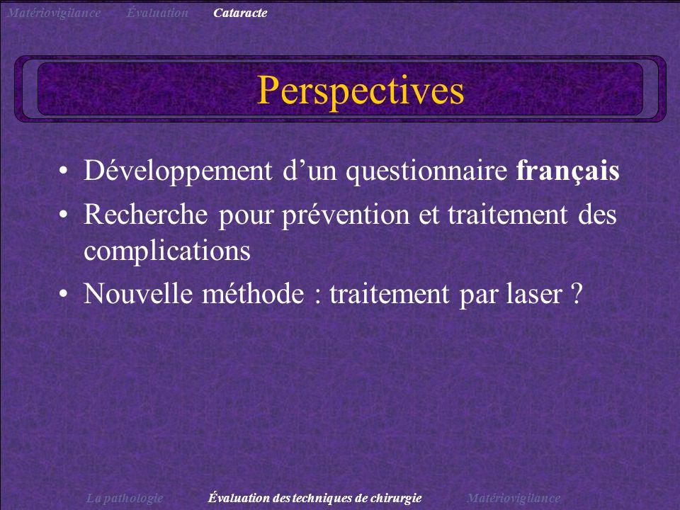 Perspectives Développement dun questionnaire français Recherche pour prévention et traitement des complications Nouvelle méthode : traitement par lase
