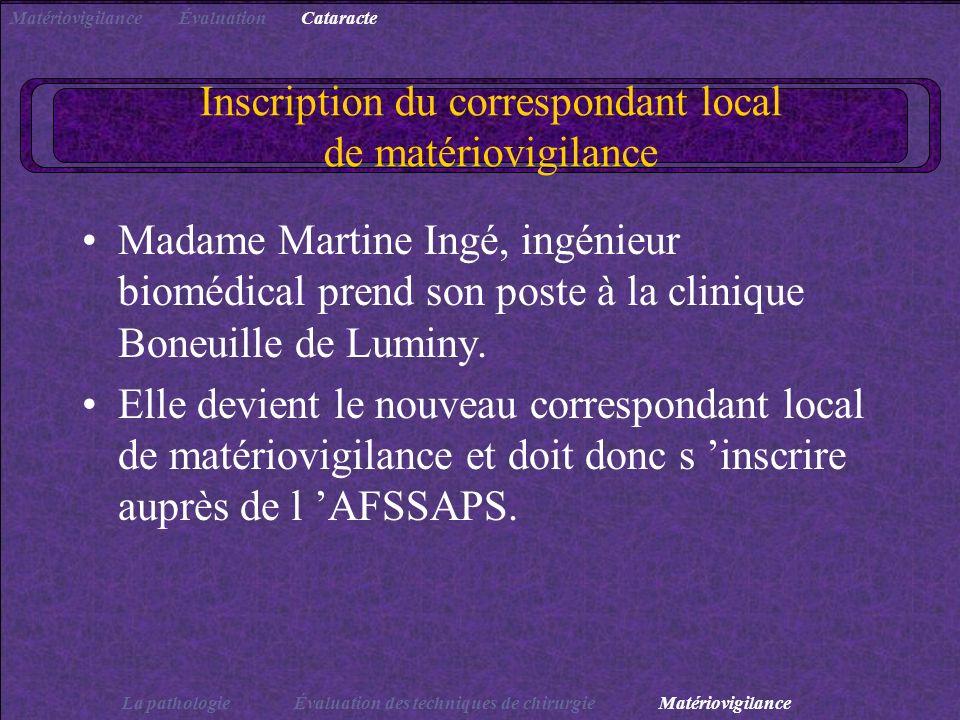 Inscription du correspondant local de matériovigilance Madame Martine Ingé, ingénieur biomédical prend son poste à la clinique Boneuille de Luminy. El
