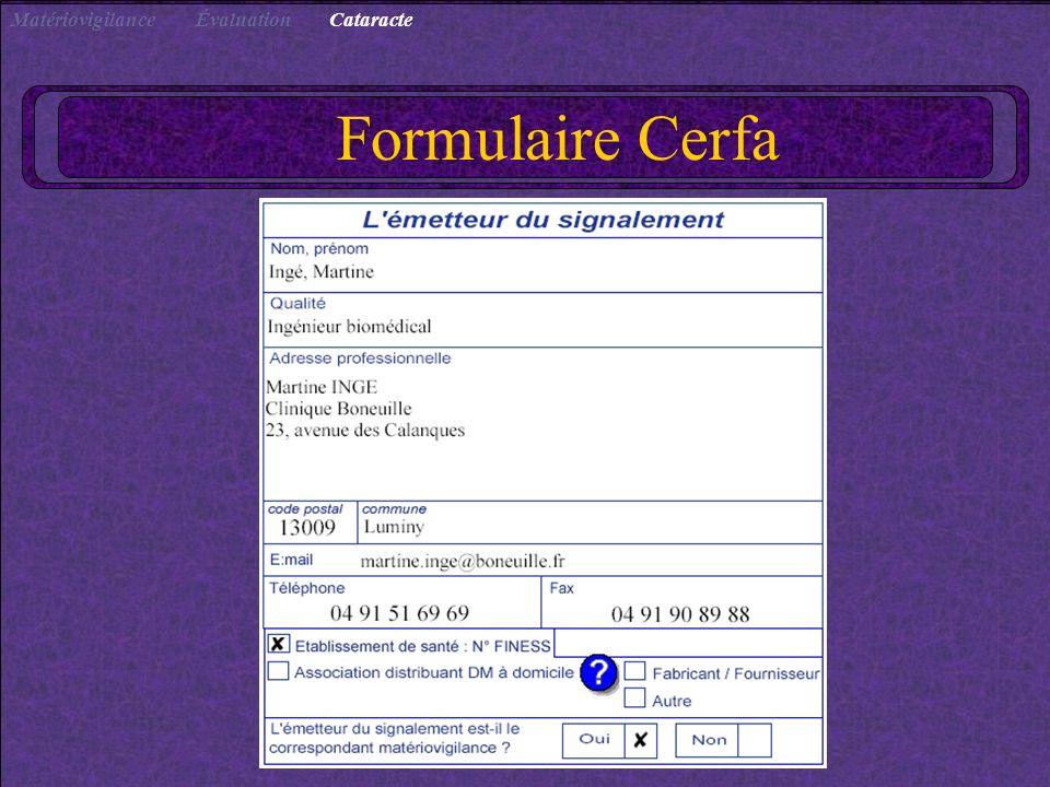 Formulaire Cerfa CataracteÉvaluationMatériovigilance