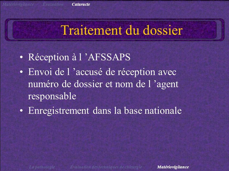 Traitement du dossier Réception à l AFSSAPS Envoi de l accusé de réception avec numéro de dossier et nom de l agent responsable Enregistrement dans la