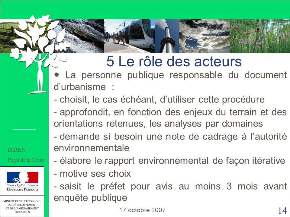 14 5 Le rôle des acteurs La personne publique responsable du document durbanisme : - choisit, le cas échéant, dutiliser cette procédure - approfondit, en fonction des enjeux du terrain et des orientations retenues, les analyses par domaines - demande si besoin une note de cadrage à lautorité environnementale - élabore le rapport environnemental de façon itérative - motive ses choix - saisit le préfet pour avis au moins 3 mois avant enquête publique 5 Le rôle des acteurs 17 octobre 2007 DIREN Pays de la Loire