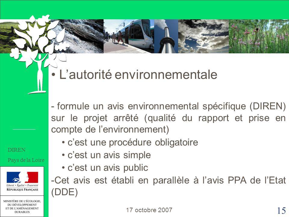 15 Lautorité environnementale - formule un avis environnemental spécifique (DIREN) sur le projet arrêté (qualité du rapport et prise en compte de lenvironnement) cest une procédure obligatoire cest un avis simple cest un avis public -Cet avis est établi en parallèle à lavis PPA de lEtat (DDE) 17 octobre 2007 DIREN Pays de la Loire