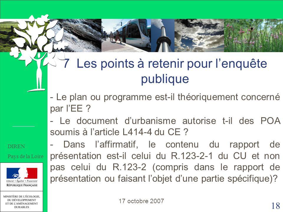 18 7 Les points à retenir pour lenquête publique - Le plan ou programme est-il théoriquement concerné par lEE .